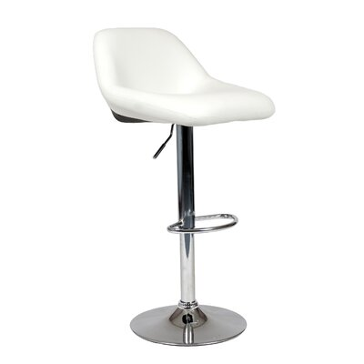 Adjustable Height Swivel Bar Stool Upholstery: Black/White