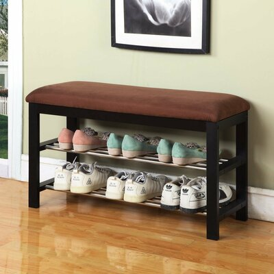 Pacheco Bench - Wood Shoe Bench by Roundhill Furniture
