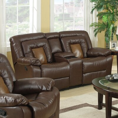 LR0142 RDHN1100 Roundhill Furniture Kmax 2-Toned Vinyl Dual Reclining Loveseat