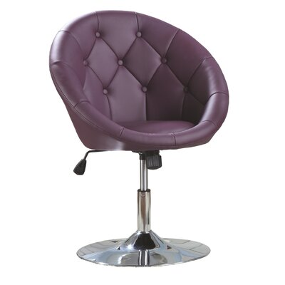 Sarthak Contemporary Tufted Back Tilt Swivel Barrel Chair Upholstery: Purple