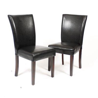 Black Leatherette Parson Chair