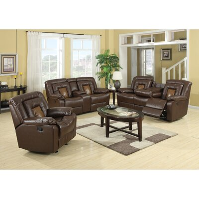 Alice Leather 3 Piece Living Room Set Upholstery: Brown