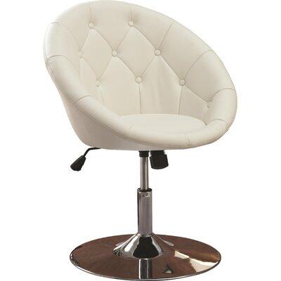 Noas Contemporary Tufted Back Tilt Swivel Barrel Chair Upholstery: White