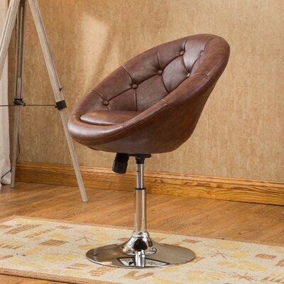 Sarthak Contemporary Tufted Back Tilt Swivel Barrel Chair Upholstery: Brown