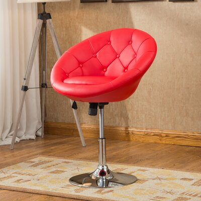 Sarthak Contemporary Tufted Back Tilt Swivel Barrel Chair Upholstery: Red