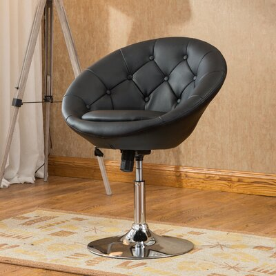 Sarthak Contemporary Tufted Back Tilt Swivel Barrel Chair Upholstery: Black