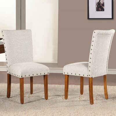 Elliya Nailheads Parsons Chair Upholstery: Tan