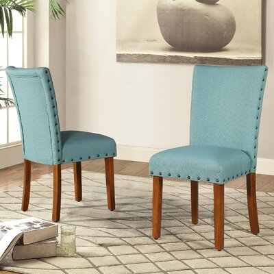 Elliya Nailheads Parsons Chair Upholstery: Blue