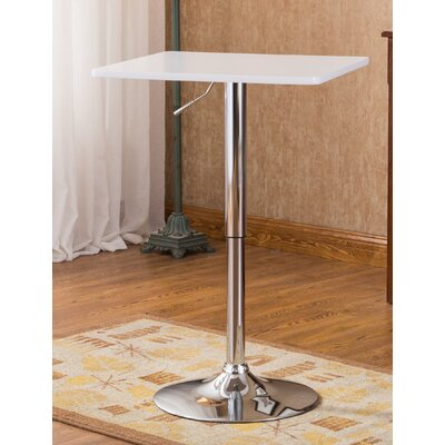 Baxton Adjustable Height Pub Table Color: White