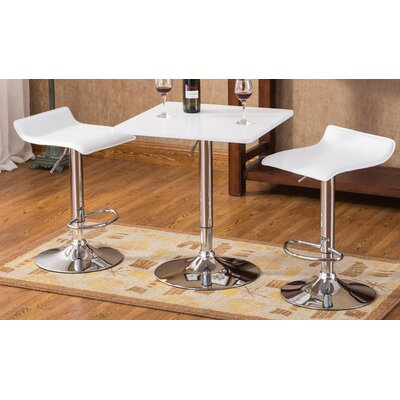 Baxton 3 Piece Pub Table Set Color: White