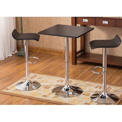 Baxton 3 Piece Pub Table Set Color: Black