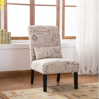 Pisano English Letter Print Fabric Armless Contemporary Side Chair