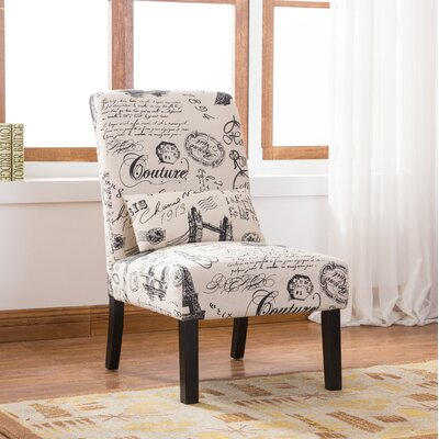 Pisano Script Linen Print Fabric Armless Contemporary Side Chair