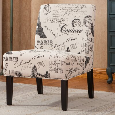 Goodale Script Linen Fabric Oversize Slipper Chair