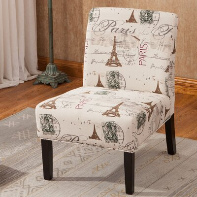Goodale Script Linen Print Fabric Armless Oversize Side Chair