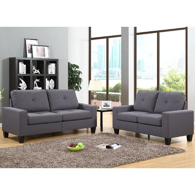Roundhill Furniture LRH0050GY Fernanda Sofa and Loveseat Set Upholstery