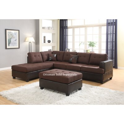Ellus Reversible Sectional Upholstery: Brown