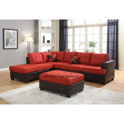 Ellus Reversible Sectional Upholstery: Red