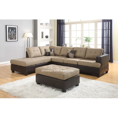 Ellus Reversible Sectional Upholstery: Tan