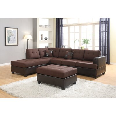Ellus Reversible Sectional with Ottoman Upholstery: Brown