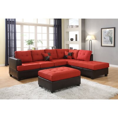 Ellus Reversible Sectional with Ottoman Upholstery: Red