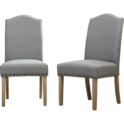 Mod Urban Style Solid Wood Nailhead Fabric Padded Parson Chair Upholstery: Gray