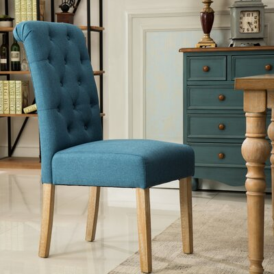 Sabanc Solid Wood Button Tufted Side Chair Upholstery: Blue