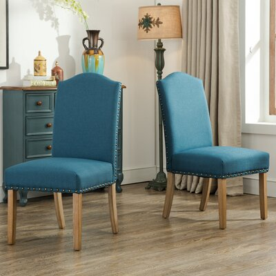 Kenleigh Urban Style Solid Wood Nailhead Fabric Padded Parson Chair Upholstery: Blue