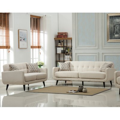 Modibella 2 Piece Living Room Set Upholstery: Tan
