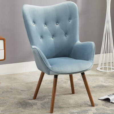 Bamard Tufted Button Back Armchair Upholstery: Blue