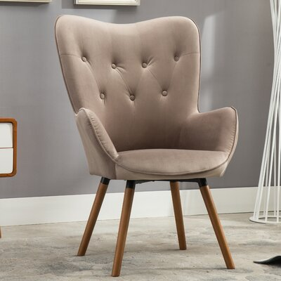 Bamard Tufted Button Back Armchair Upholstery: Chocolate