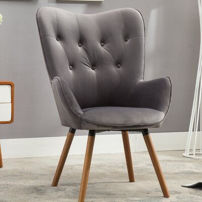 Bamard Tufted Button Back Armchair Upholstery: Gray