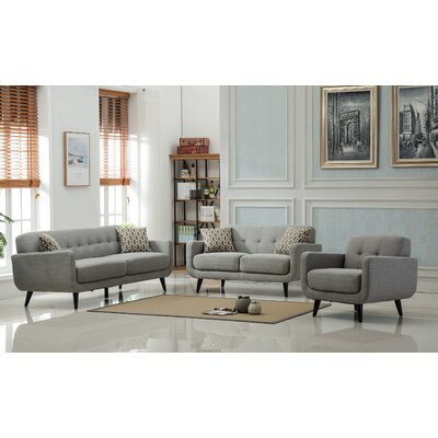 Modibella 2 Piece Living Room Set Upholstery: Gray