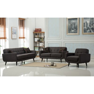 Modibella 3 Piece Living Room Set Upholstery: Taupe