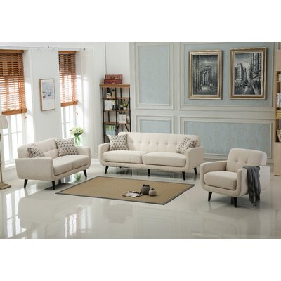 Modibella 3 Piece Living Room Set Upholstery: Tan