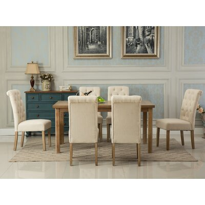 Monotanian Solid Wood 7 Piece Dining Set Chair Finish: Tan