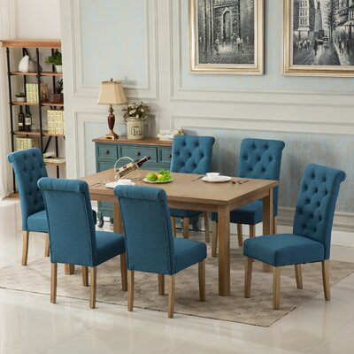 Kenleigh Solid Wood 7 Piece Dining Set Chair Color: Blue