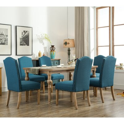 Habitanian Solid Wood 7 Piece Dining Set Chair Finish: Blue