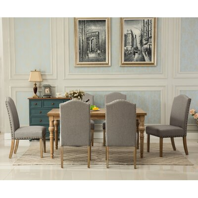 Kenleigh Solid Wood 7 Piece Dining Set Chair Color: Gray