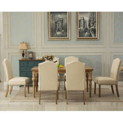 Habitanian Solid Wood 7 Piece Dining Set Chair Finish: Tan