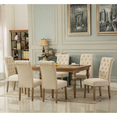Kenleigh Solid Wood 7 Piece Dining Set Chair Color: Tan