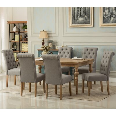 Habitanian Solid Wood 7 Piece Dining Set Chair Finish: Gray