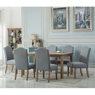 Monotanian Solid Wood 7 Piece Dining Set Chair Finish: Gray