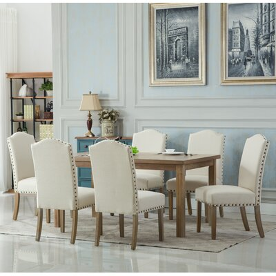 Kenleigh Solid Wood 7 Piece Dining Set Chair Finish: Tan