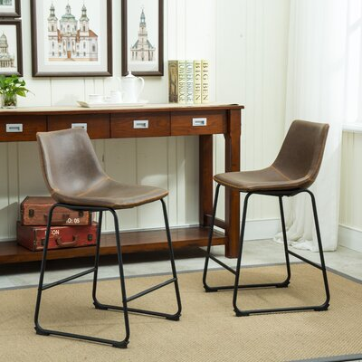 Bamey Vintage 24.5 Bar Stool Upholstery: Antique Brown