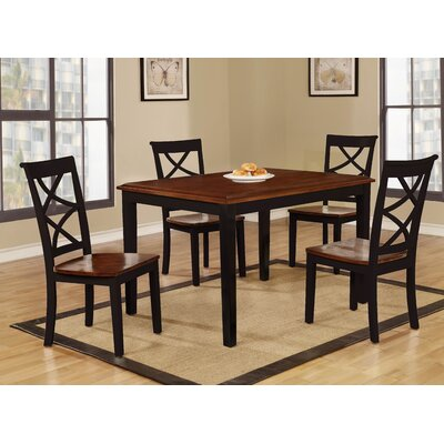 Baum Two-Tone Solid Wood 5 Piece Dining Set Finish: Cherry/Black