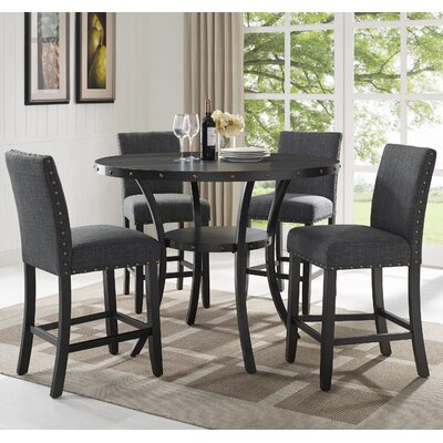 Biony Espresso Wood 5 Piece Dining Set Upholstery Color: Gray