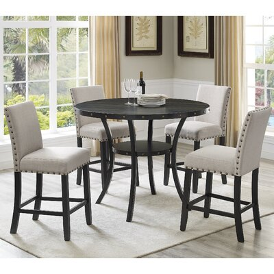 Amy Espresso Wood 5 Piece Dining Set Upholstery Color: Tan