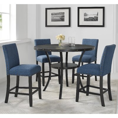 Amy Espresso Wood 5 Piece Dining Set Upholstery Color: Blue