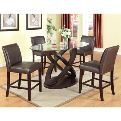 Cicicol Espresso Glass Top 5 Piece Dining Set